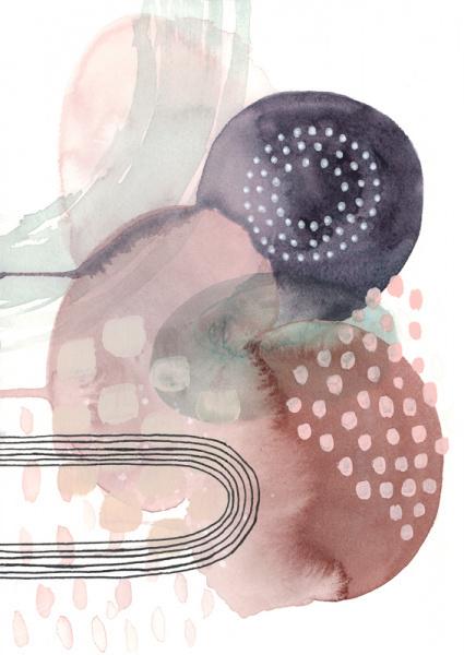 Abstract shapes and dots in watercolors