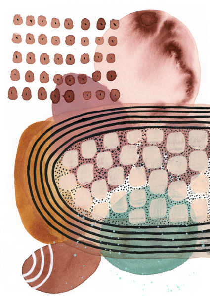 Abstract watercolor with circles, ovals and dots