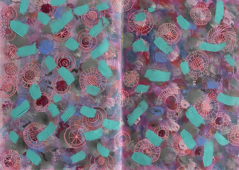 Abstract flowers and teal stripes