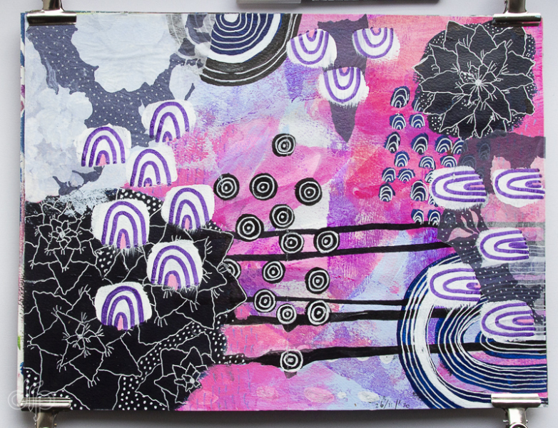 Art journal spread with flowers and arches