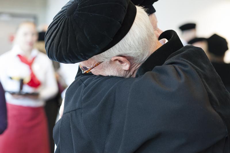 Hugging Professor W. Janse