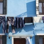 blue laundry at blue house in Burano, Italy
