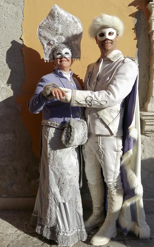Couple in lilac Winter Czar like costume
