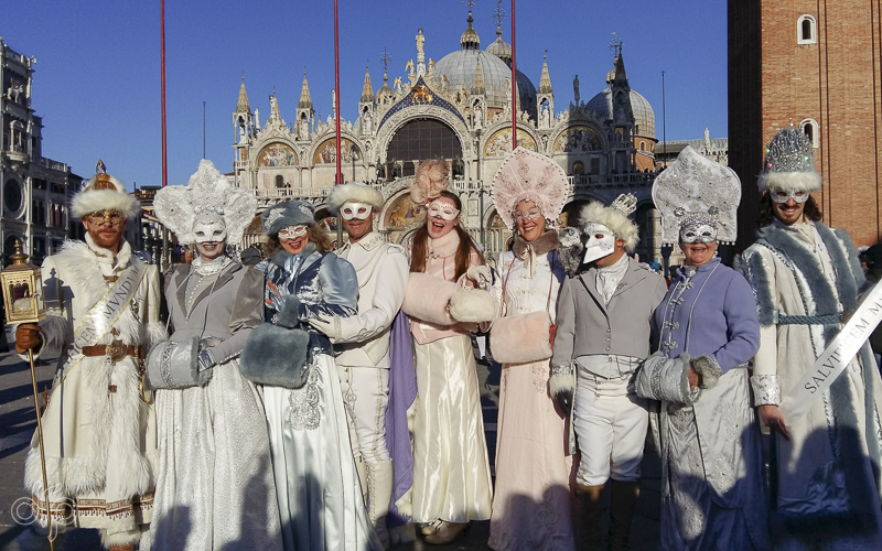 Total group in Winter Czar costume on San Marco square